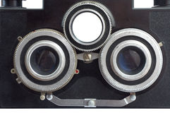 Old stereo camera. Lenses of an old stereo camera Royalty Free Stock Image