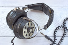 Old stereo headphones Royalty Free Stock Image