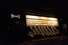 Old stereo radio with a glowing fond Royalty Free Stock Photos