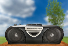 Old stereo tape recorder. On nature background royalty free stock images