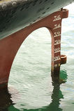 Old Stern of ship with screw and rudder. Old rudder and stern waterline of an old ship Stock Photos