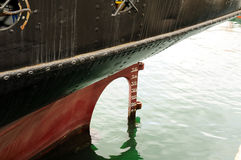 Old Stern of ship with screw and rudder Stock Photos