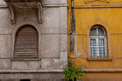 Old stile windows. An old facade with windows for in and no out Royalty Free Stock Image