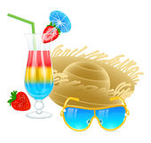 Cold cocktail with sunglasses, hat and strawberry Stock Images