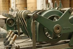 Old stitching machine, side view Royalty Free Stock Photography