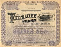 Old Stock Certificate 3. Photograph of a 19th-Century stock certificate***not under copyright royalty free stock photo