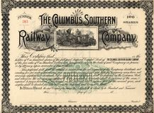 Old Stock Certificate 3. Photograph of a 19th-Century stock certificate***not under copyright Stock Photography