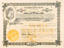 Old Stock Certificate Ohio USA Woman Star Vignette stock images