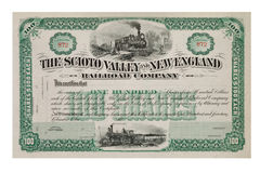 Old stock certificate from the 1800's. Stock Certificate from the late 1800's Royalty Free Stock Photo