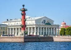 Old Stock Exchange building and Rostral column on Vasilyevsky island, St. Petersburg, Russia royalty free stock photography