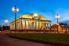 Old Stock Exchange building on Vasilyevsky island at night, Saint Petersburg, Russia royalty free stock image