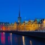 Old Stock Exchange at night in Copenhagen, Denmark. Royalty Free Stock Photos