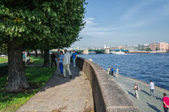 He Old Stock Exchange square in the morning. The Neva embankment Stock Photography
