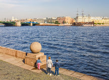 The Old Stock Exchange square in the morning. The Neva embankment. Royalty Free Stock Images