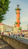 He Old Stock Exchange square in the morning. The Rostral column. Stock Images