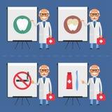 Old stomatologist indicates on flip chart Stock Photos
