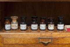 Old stomatology medical vintage bottles. Old  medical vintage bottles in stomatology ambulance Stock Photography