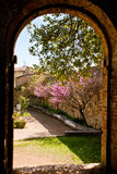 Old stone arch and garden. An old stone arch and a garden with flowers in San Quirico d'Orcia Royalty Free Stock Image