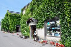 Old stone architecture and quaint little shops covered with green plants, Otaru, Japan
