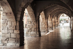 Old stone archway. Street of Tarragona, Spain Stock Photography