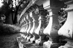 Old stone balustrade in the park Royalty Free Stock Images