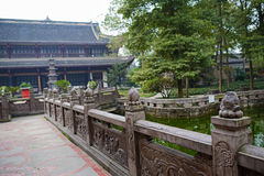 Old stone balustrades by pond,Chengdu Royalty Free Stock Image