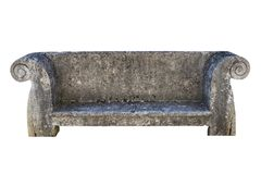 Old stone bench - isolated. Old stone bench isolated on White Background royalty free stock image