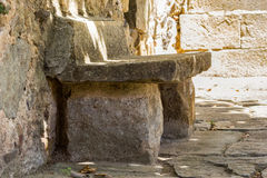 Old stone bench. In Spain stock photos