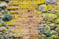 Old stone and brick wall. In backgrounds Stock Images