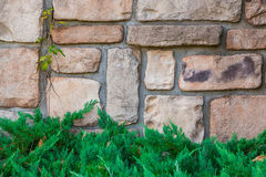 Old stone brick wall texture background. Royalty Free Stock Photos