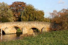 Old stone bridge,. Another view of the bridge at Fotheringhay, UK. Power cable removed. This is an old bridge, in an english villiage Royalty Free Stock Photography