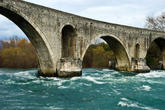 Old stone bridge. Old Roman stone bridge in Arta, Greece stock photo