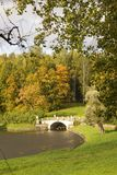 Old Stone Bridge in Autumn Pavlovsk Park Royalty Free Stock Images