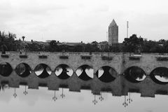 Old Stone Bridge in Black and White. Stock Photo