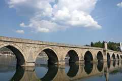 Old stone bridge on Drina river Visegrad. Bosnia stock photos
