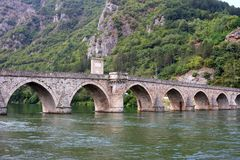 Old stone bridge on Drina river Visegrad. Bosnia stock images