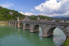 Old Stone Bridge on the Drina river in Visegrad. Work Mehmed Pasha Sokolovic, constructed between 1571 and 1577 by architect Mimar Sinan, Bosnia and Herzegovina stock photos