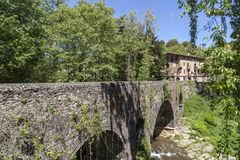 Old stone bridge in garrotxa region,Olot,Catalonia,Spain.  royalty free stock photos