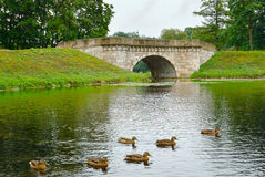 Old stone bridge in Gatchina, town near Saint Petersburg Royalty Free Stock Image