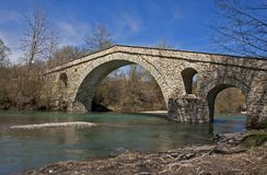 Old stone bridge. An old stone bridge in Grevena, Greece stock photography