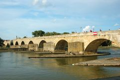 Old Stone Bridge In Regensburg, Germany Stock Photos
