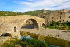 Old stone bridge in Lagrasse in Languedoc Royalty Free Stock Photo