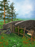 Old stone bridge on a meadow Royalty Free Stock Photography