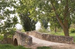 Old stone bridge medieval, Castilla Leon, Camino di Santiago Stock Photos