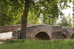Old stone bridge medieval, Castilla Leon, Camino di Santiago Royalty Free Stock Photo