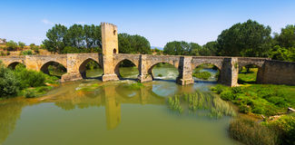 Old stone bridge over Ebro. Frias, Province of Burgos Royalty Free Stock Photography