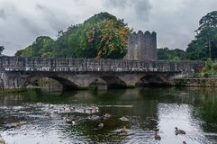 An old stone bridge over Glenarm River with ducks and castle tower, Glenarm, Northern Ireland stock image