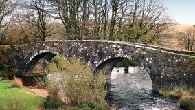 Old Stone Bridge Over River stock video footage