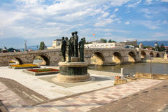 Old Stone Bridge Over Vardar River. In Skopje, Macedonia Stock Photos