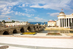 Old Stone Bridge Over Vardar River Royalty Free Stock Photos